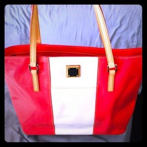 Dooney and Bourke patent hot pink bag